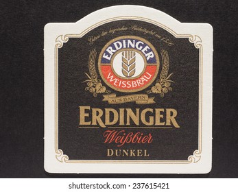 BERLIN, GERMANY - DECEMBER 11, 2014: Beermat of German beer Erdubger weissbier dunkel