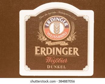 BERLIN, GERMANY - DECEMBER 11, 2014: Beermat of German beer Erdubger weissbier dunkel vintage