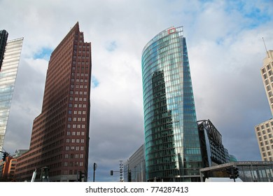 Berlin, Germany - December 11, 2017: buildings on Potsdamer Platz, one of sightseeing and touristic places in Berlin