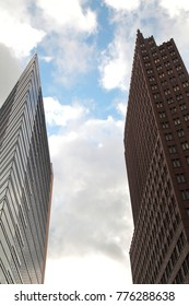 Berlin, Germany - December 11, 2017: buildings on Potsdamer Platz, a sightseeing and touristic place in Berlin