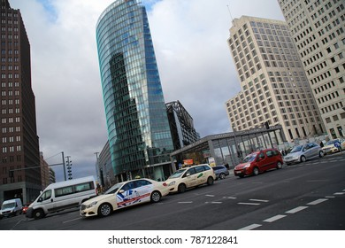 Berlin, Germany - December 11, 2017: rush hour and traffic near to railroad station Potsdamer Platz, a sightseeing and touristic place in Berlin