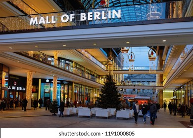 Berlin, Germany - December 12, 2017: Shopping Mall of Berlin with Christmas decoration and lights, Berlin, Germany. Retail stores interior.