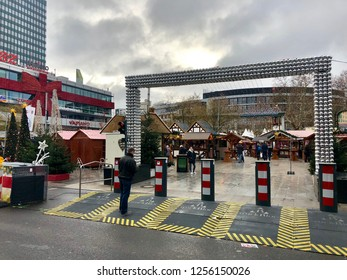 BERLIN, GERMANY - DECEMBER 12, 2018: Road vehicle blockades surround the perimeter of the Kaiser Wilhelm Memorial Church Christmas Market to protect against terrorist attacks in Berlin, Germany.