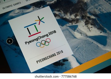 Berlin, Germany, december 15, 2017: PyeongChang 2018 Olympic games logo on official olympic games web page on laptop screen