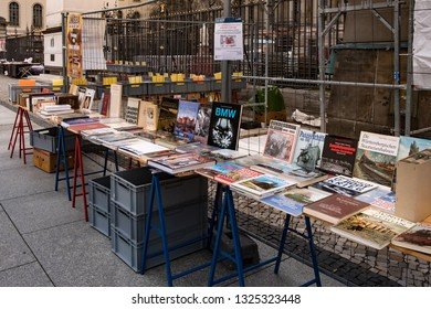 Berlin, Germany - December 15, 2018 : Secondhand books for selling at flea market. book market.
