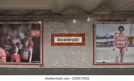 Berlin, Germany - December 15, 2018 : Name sign of Alexanderplatz, one of the best-known public squares in Berlin, U-Bahn underground station.