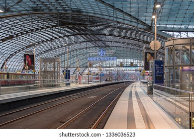 Berlin, Germany - December 15, 2018 : Berlin Hauptbahnhof Central Station, the main railway station in Berlin.
