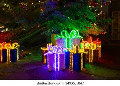 Berlin, Germany - December 18, 2017: Decorative illuminated Christmas packages at night in Breitscheidplatz in Berlin.
