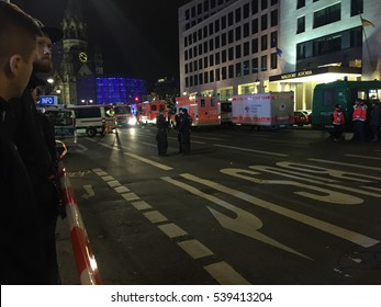 Berlin, Germany - December 19, 2016: site of an accident in Kurfuerstendamm avenue in the west of Berlin. A truck plowing through the crowd at the Christmas market