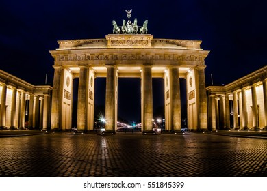 Berlin, Germany - December 20, 2016: Classic view of famous Brandenburg Gate of Berlin, Germany's most famous landmark and a national symbol at night