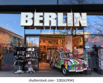 Berlin, Germany - December, 2018: Stylized Trabant at souvenir shop I love Berlin in Alexanderplatz in Berlin.