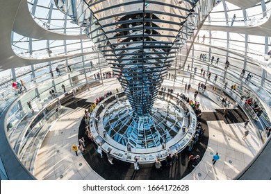 Berlin, Germany - December, 2019: Glass dome on the top of the Reichstag in Berlin, Germany.