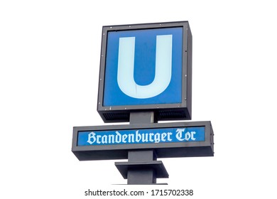 Berlin, Germany - December 25, 2017: U bahn subway sign in Berlin. U bahn is a rapid transit railway in Berlin