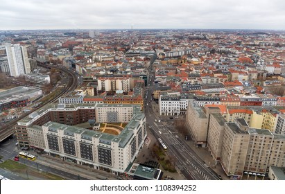 BERLIN, GERMANY - DECEMBER 28, 2017: Panoramic cityscape of Berlin. Berlin is the capital and the largest city of Germany.