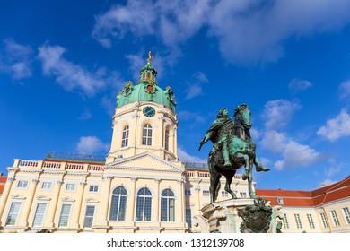 BERLIN, GERMANY - DECEMBER 29: Charlottenburg Palace and Statue of Friedrich Wilhelm I on December 29, 2017. Charlottenburg Palace is the largest palace in Berlin.