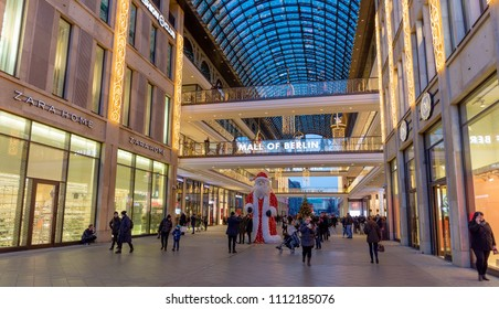 BERLIN, GERMANY - DECEMBER 29: Mall of Berlin on December 29, 2017. Located at Leipziger Platz offers various shopping offers various shopping facilities on four floors and a vast food court.