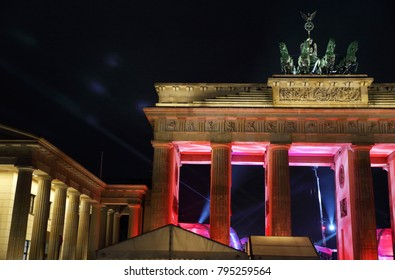 Berlin, Berlin / Germany - December 31, 2017: The illuminated Brandenburg Gate at New years eve in Berlin