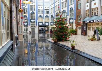 BERLIN, GERMANY - DECEMBER 31: Hacke's Courtyards (Hackesche Hofe) on December 31, 2017 in Berlin. Hackesche Höfe is a notable courtyard complex in the centre of Berlin.