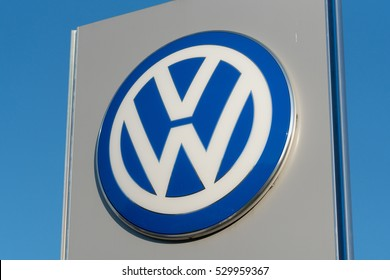 Berlin, Germany - December 5, 2016: Volkswagen car dealership. Volkswagen is a German automaker founded in 1937. It is the largest automaker worldwide currently