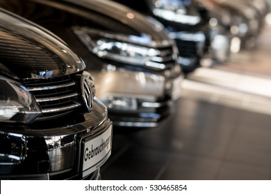 Berlin, Germany - December 5, 2016: Volkswagen black cars in car dealership. Volkswagen Group is a German automobile manufacturing group based in Wolfsburg, Germany, and founded in 1937