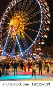 Berlin, Germany - December 7, 2017: Christmas market on Alexanderplatz in Berlin, Germany
