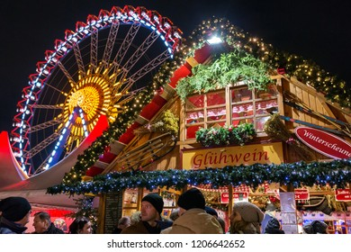 Berlin, Germany - December 7, 2017: Christmas market on Alexanderplatz in Berlin, Germany