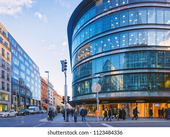 Berlin, Germany - December 8, 2017: Galeries Lafayette department store and the street between Friedrichstrasse and Unter den Linden in Berlin, Germany.