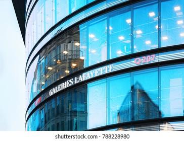 Berlin, Germany - December 8, 2017: Modern glass office building Berlin Mitte, of Germany