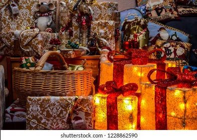 Berlin, Germany   December 9, 2016: Many Packed Christmas Presents With  Decoration And