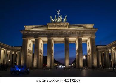BERLIN, GERMANY, EU - SEPTEMBER 19, 2011: Brandenburger Tor (Brandenbourg Gate) from Unter den Linden. Night view