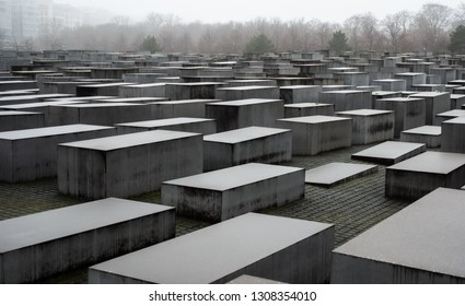 Berlin, Germany - Feb 03, 2019: Blocks at the Memorial to the Murdered Jews of Europe in Berlin Germany. Jewish victims of the Holocaust.