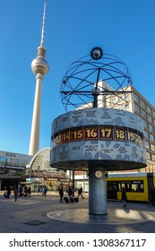Berlin, Germany - Feb 04, 2019: World Clock (Weltzeituhr), also known as the Urania World Clock (Urania-Weltzeituhr) located in the public square of Alexanderplatz in Mitte district.