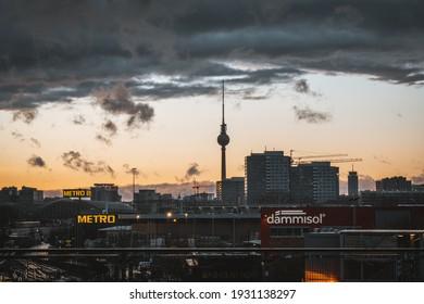 BERLIN, GERMANY - Feb 10, 2021: Aerial view towards Berlin TV Tower near Alexanderplatz in Berlin Mitte.
