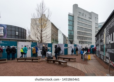 Berlin, Germany - February 03, 2019:Checkpoint Charlie historical border transition between the western and eastern Berlin