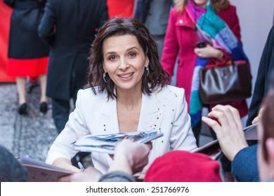 Berlin, Germany - February 05, 2015: Juliette Binoche on 65 Film Festival in Berlin on 05.01.2015