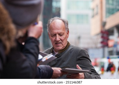BERLIN, GERMANY - FEBRUARY 06:  the director Werner Herzog attends the 'Queen of the desert' photocall during the 65th Berlinale International Film Festival at Grand Hyatt Hotel on February 6, 2015