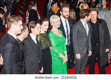 BERLIN, GERMANY - FEBRUARY 09: Ryan Reynolds, Daniel Bruehl and Helen Mirren attend the 'Woman in Gold' premiere on the 65th Berlinale at Friedrichstadt-Palast on February 9, 2015 in Berlin, Germany.