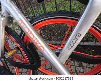 Berlin, Germany - February 1, 2018: Mobike bike. founded and owned by Beijing Mobike Technology, Mobike is a fully station-less bicycle-sharing system headquartered in Beijing, China