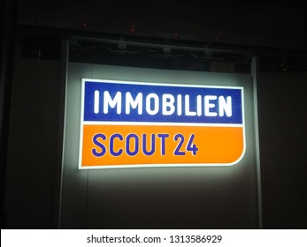 Berlin, Germany - February 10, 2019: Sign of Immobilien Scout24, the largest German online marketplace company for real estate providing a large range of apartments and houses for rent, buy or offer