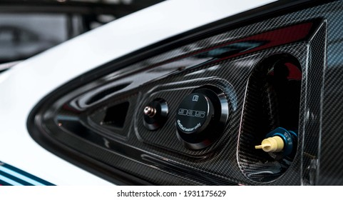 Berlin, Germany - February 10, 2021: The details of A white Porsche 935 hypercar