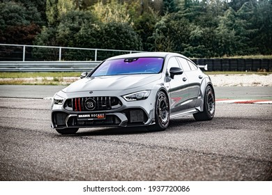 Berlin, Germany - February 10, 2021: A silver Brabus Rocket 900 sportcar modified from Mercedes-AMG GT 63 S 4Matic + is parked on road