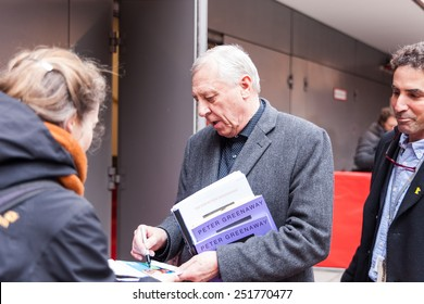 """Berlin, Germany - February 11, 2015: Peter Greenaway making autographs before the press conference of the film """"Eisemstein in Guanajuato"""" during 65th Berlinale Film Festival"""
