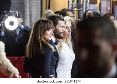 BERLIN, GERMANY - FEBRUARY 11, 2015: Actress Dakota Johnson, actor Jamie Dornan and director Sam Taylor-Johnson attend the 'Fifty Shades of Grey' premiere during the 65th Berlinale