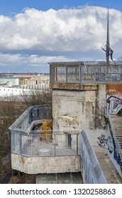 Berlin, Germany - February 11, 2019: Partially demolished G-Tower of Flak towers Humboldthain, above-ground, anti-aircraft gun blockhouse towers constructed by Nazi Germany in a city.