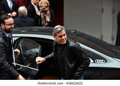 BERLIN - GERMANY - FEBRUARY 11 : George Clooney arriving to the Press Conference from  at the 66rd Annual Berlinale International Film Festival at Hyatt on February 11 , 2016 in Berlin, Germany