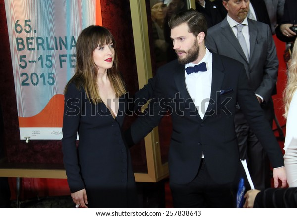 BERLIN, GERMANY - FEBRUARY 11: Jamie Dornan, Dakota Johnson  attend the 'Fifty Shades of Grey' premiere during the 65th Berlinale Film Festival at Zoo Palast on February 11, 2015 in Berlin, Germany.
