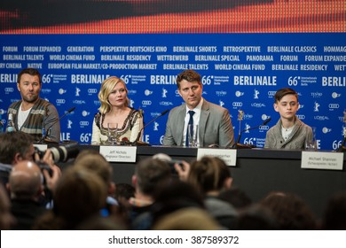 Berlin, Germany - February 12, 2016 -Actors Michael Shannon, Jaeden Lieberher, Kirsten Dunst and Joel Edgerton attend the 'Midnight Special' press conference during the 66th Berlinale Film Festival