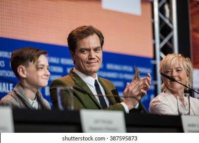 Berlin, Germany - February 12, 2016 -Actors Michael Shannon, Jaeden Lieberher, Kirsten Dunst and Joel Edgerton attend the 'Midnight Special' press conference during the 66th Berlinale