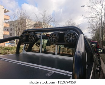 Berlin, Germany - February 12, 2019: Kicker car speakers. The American KICKER produces high-performance car audio, vehicle solutions, marine audio, home and personal audio and power sports products