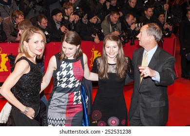 BERLIN, GERMANY - FEBRUARY 13, 2015: U.S. Ambassador to Germany John B Emerson, with his wife Marteau Emerson and daughters Jacqueline and Hayley attend the 'Cinderella' premiere on 65th Berlinale